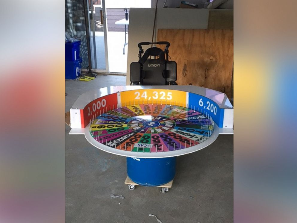 PHOTO: Tony Alfano used supplies include PVC pipe and aluminum board to create his sons Wheel of Fortune costume.