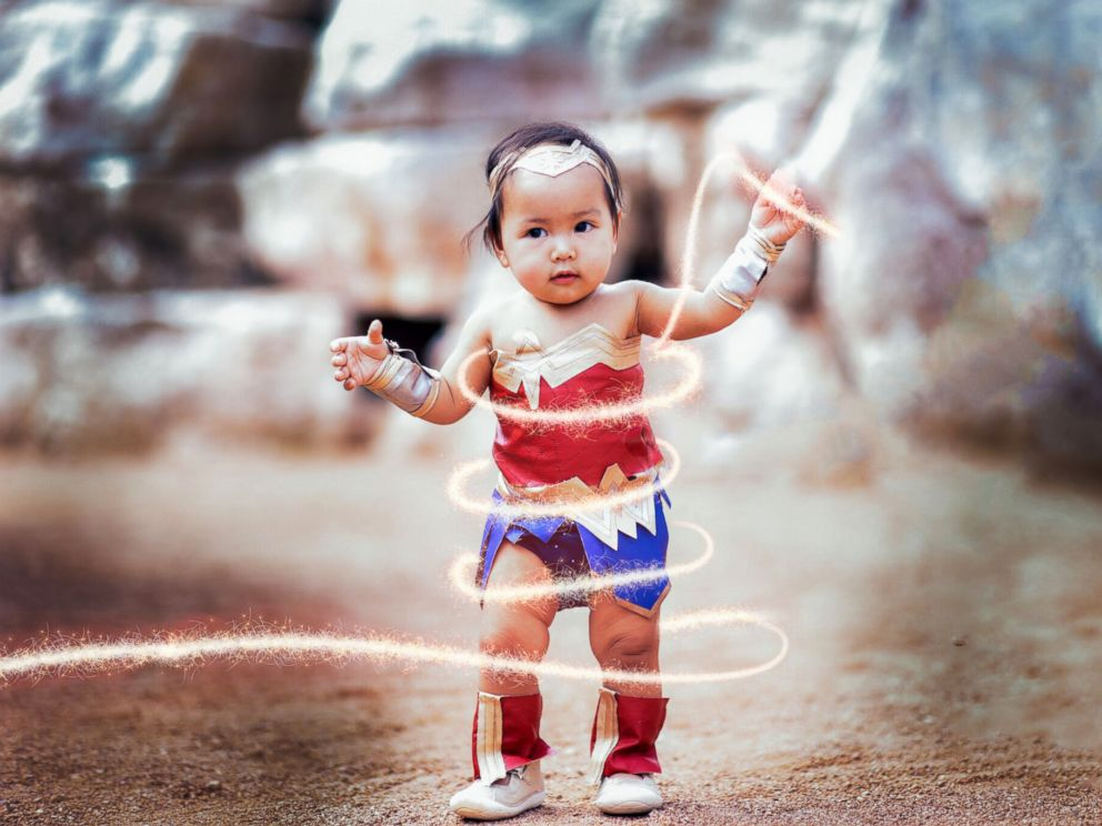 PHOTO: Liliana Chloe, 10-months-old, is dressed in a Wonder Woman costume for Halloween.