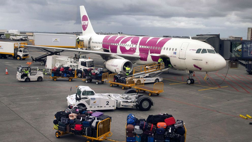 An Airbus A320 jetliner, belonging to low-cost Icelandair airline WOW air, at the airport terminal in Keflavik, Iceland Aug. 15, 2015.