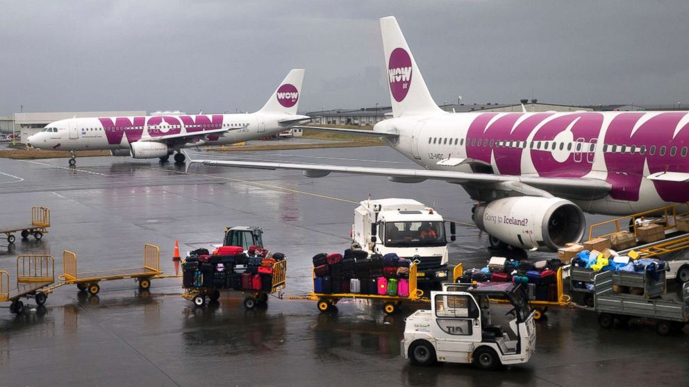 Two Airbus A320 jetliners, belonging to low-cost Icelandair airline WOW air, at the airport terminal in Keflavik, Iceland, Aug. 13, 2015.
