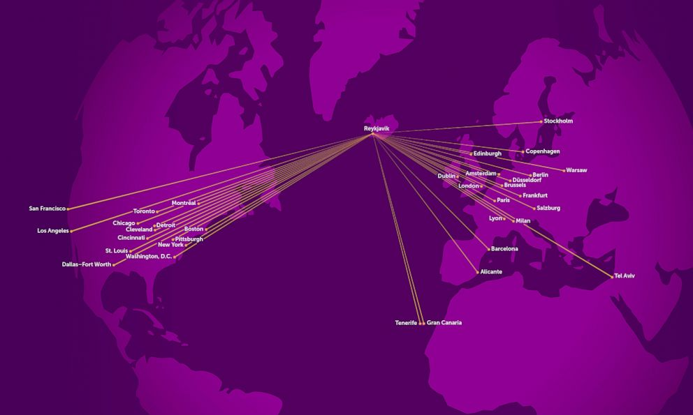 Wow airlines travel map shows the airlines routes.