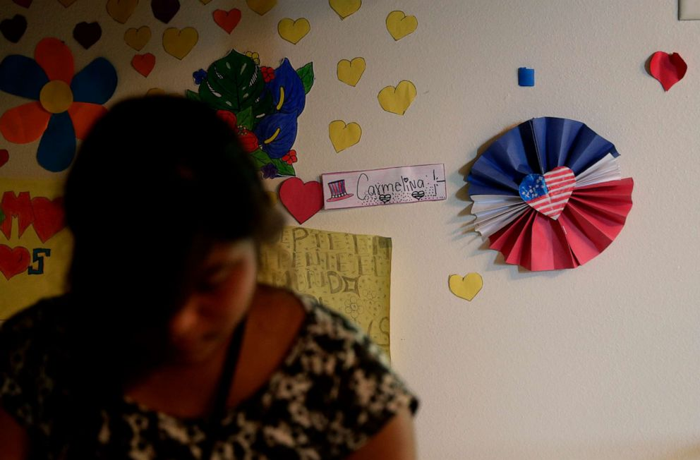 PHOTO: Decorations cover the walls of rooms of immigrants at the U.S. governments holding center for migrant children in Carrizo Springs, Texas, July 9, 2019.