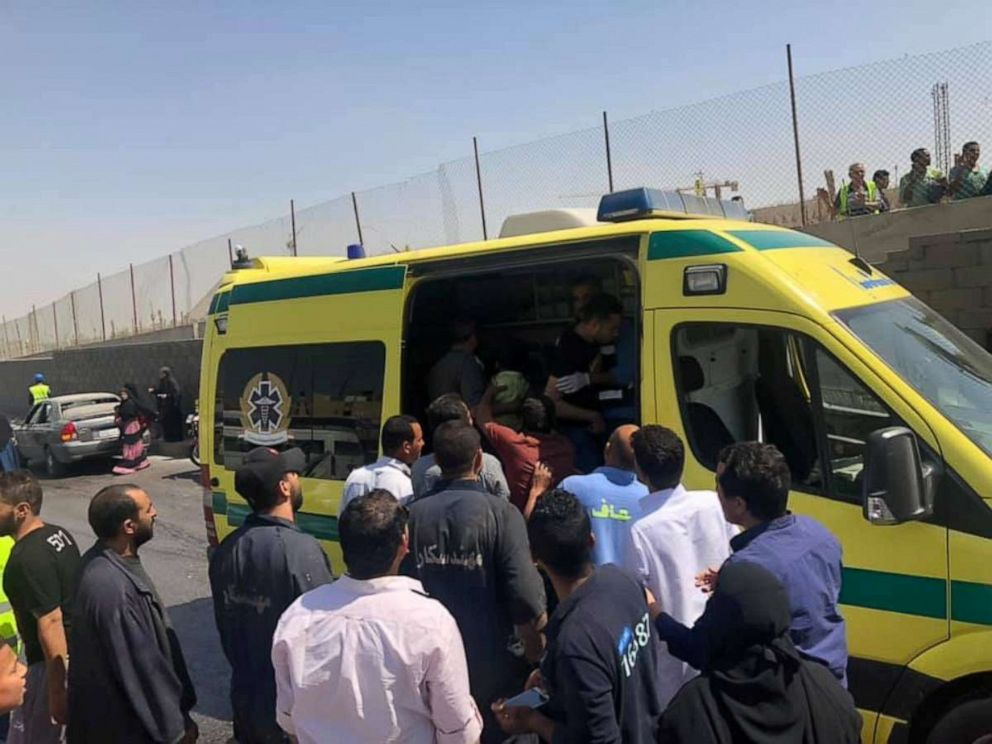 PHOTO: An ambulance is seen at the site of a blast near a new museum being built close to the Giza pyramids in Cairo, May 19, 2019.