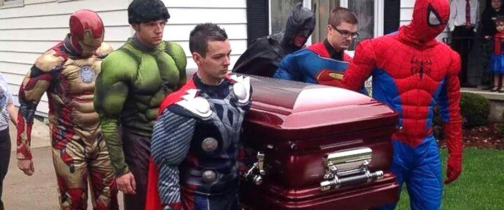 PHOTO: Brayden Dentons superhero funeral.