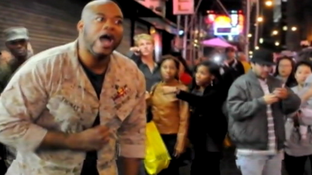 PHOTO: Sgt. Shamar Thomas gets loud after clash between police and protesters.