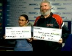 PHOTO: Rosa DeLeon, 52, of Arlington and Reginald LeBlanc, 54, of Lexington, who work at the Costco in Waltham, bought a $50 million Powerball ticket at a gas station in Lexington.