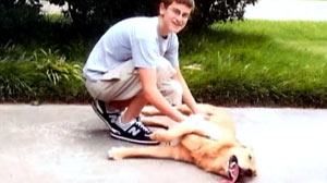 PHOTO Lawrence King with his 7-year-old golden retriever named Boomer