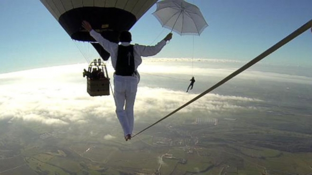 VIDEO: French Daredevils Attempt Heart-Stopping Hot Air Balloon Walk