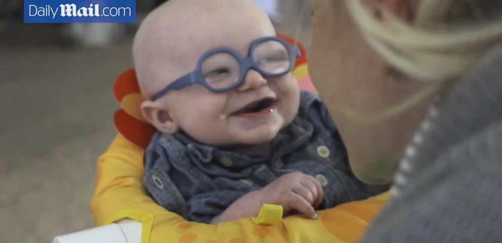 Baby Smiles After Seeing Mom For First Time Through Glasses