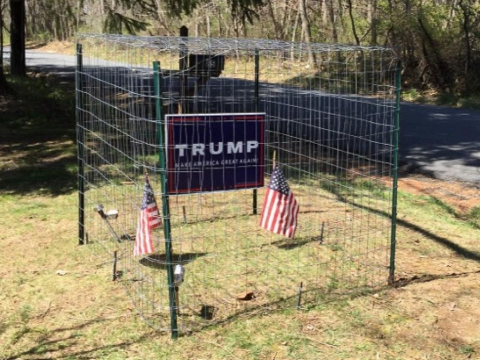 Family Installs Electric Fence, Dog Cage to Protect Trump Signs