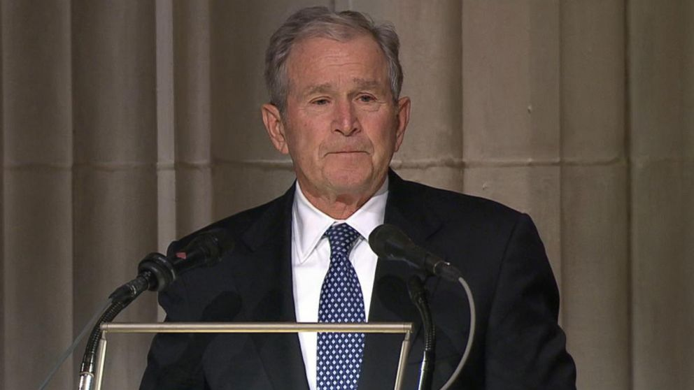 VIDEO: At Bushs funeral, an emotional George W. Bush pays tribute to his father