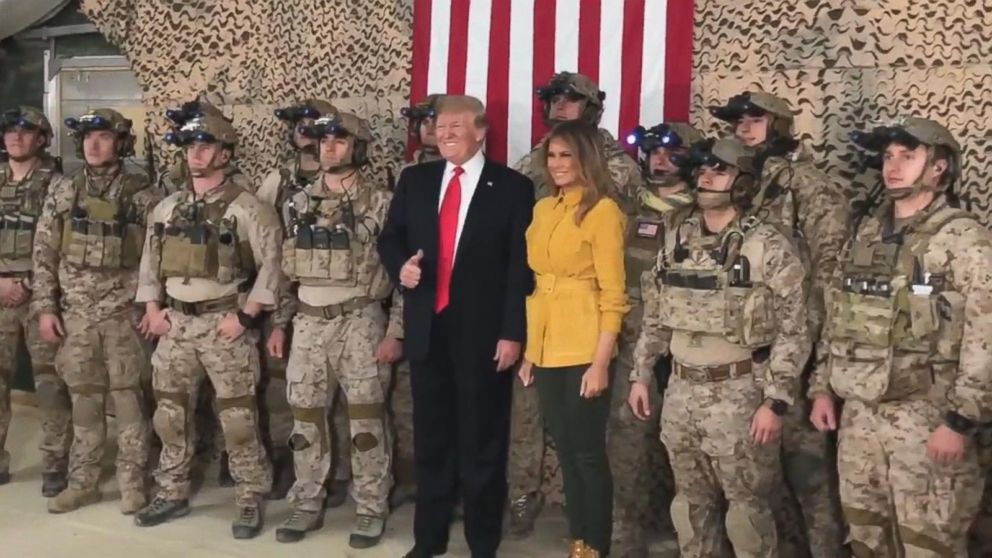Melania Trump Christmas With The Troops 2020 We're no longer the suckers': Trump to US troops during 1st visit