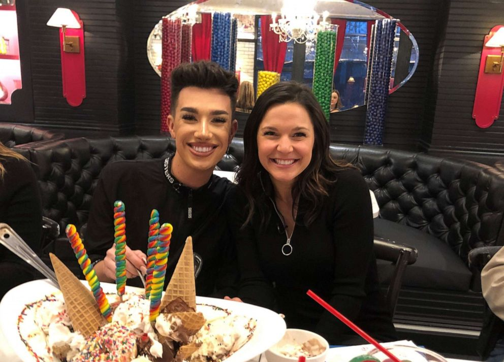 "James Charles sits with Maggie Rulli at the Sugar Factory for ""Nightline"" on ABC News."