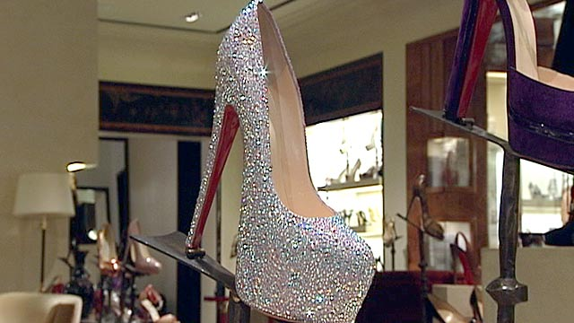 PHOTO:ABC News Juju Chang measures the 7-inch heel on a crystal-covered Christian Louboutin, retailing at $5,995 at Bergdoff?s Goodman in New York City.