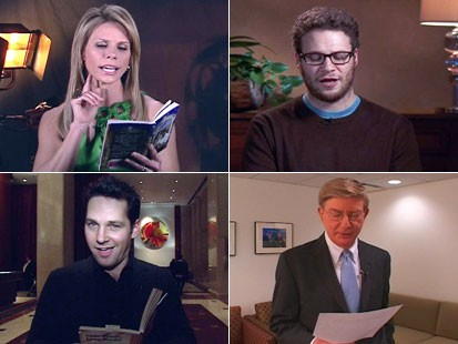 Cheryl Hines, Seth Rogen, George Will and Paul Rudd read aloud from harlequin romance novels.