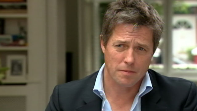 PHOTO: Actor Hugh Grant discusses the News of the World scandal, which he helped expose, with ABCs Jeffrey Kofman.