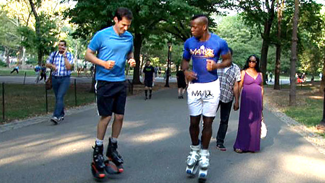 PHOTO: ABCs John Berman tests out Kangoo Jumps, special boots with a spring attached to them that lets you bounce during your workout routine.