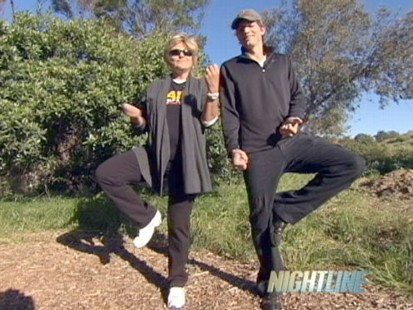 "VIDEO: Actor leads ""Nightline"" anchor through low-impact trailside workout routine."