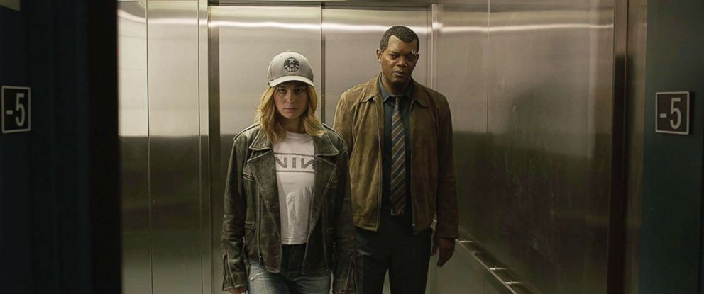 PHOTO: Brie Larson and Samuel L Jackson appear in a scene from Captain Marvel.