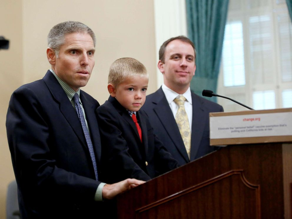 PHOTO: Carl Krawitt, left, a supporter of a measure requiring nearly all of California school children to be vaccinated, answers a question during a news conference at the Capitol in Sacramento, Calif., June 24, 2015.