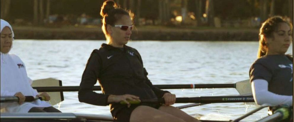 PHOTO: Heather Hodlin, 25, from San Diego, practices rowing with her teammates in February 2019.