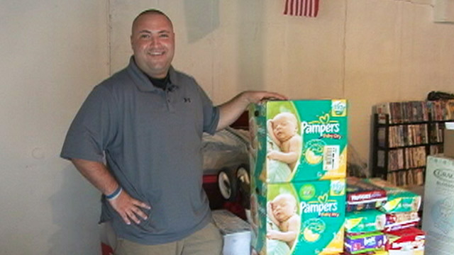 PHOTO: Dave DeNovellis with Dadchelor gifts