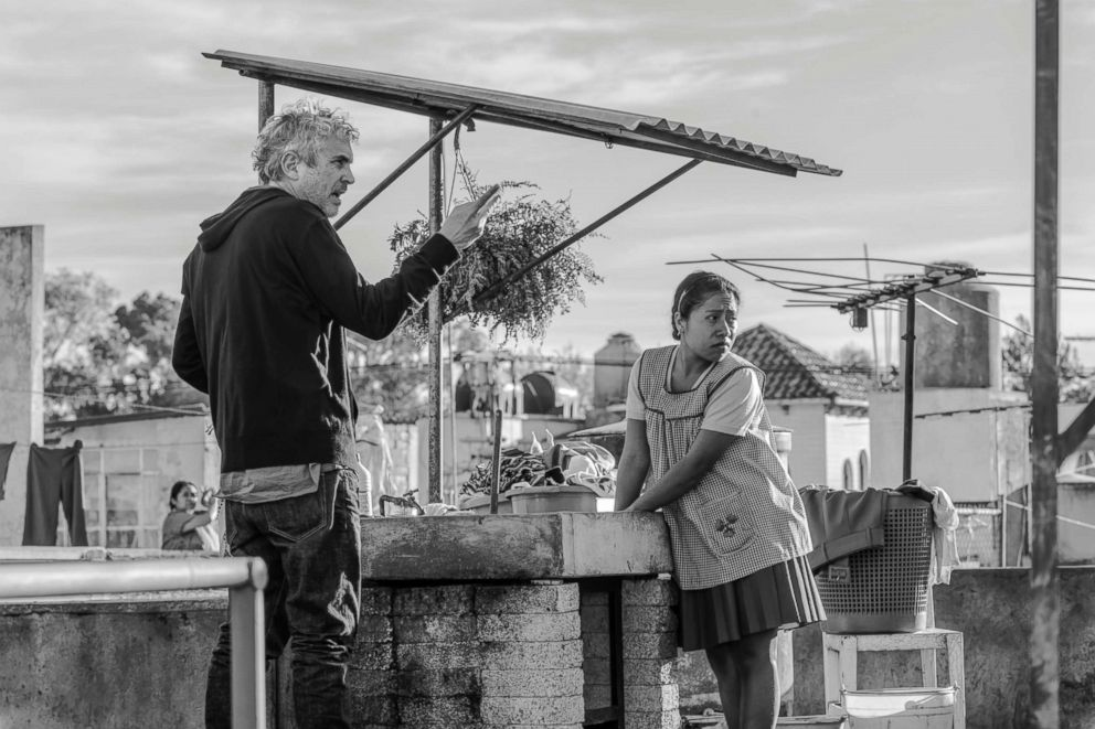 PHOTO: Director Alfonso Cuaron and actress Yalitza Aparicio are pictured on the set of the Netflix film, Roma.
