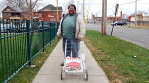 PHOTO Wilson and her neighbors used to bring their carts to the local P&C grocery store before it closed. Now, they go to the corner store where Wilson says food is often expired and overpriced.