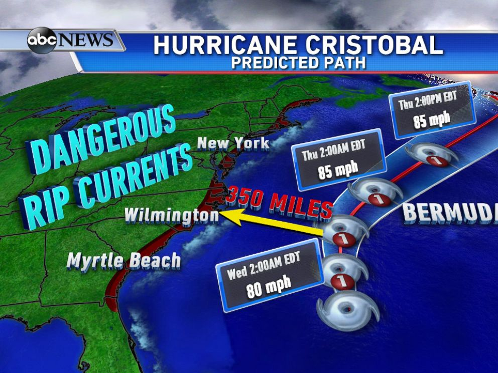 PHOTO: Hurricane Cristobal: Hurricane Cristobal stays in the open Atlantic, but causes dangerous rip currents up and down the east coast.