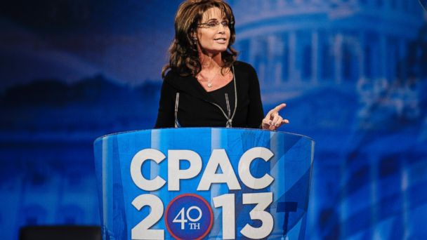 PHOTO: Sarah Palin, former Gov. of Alaska, speaks at the 2013 Conservative Political Action Conference (CPAC), March 16, 2013, in National Harbor, Md.