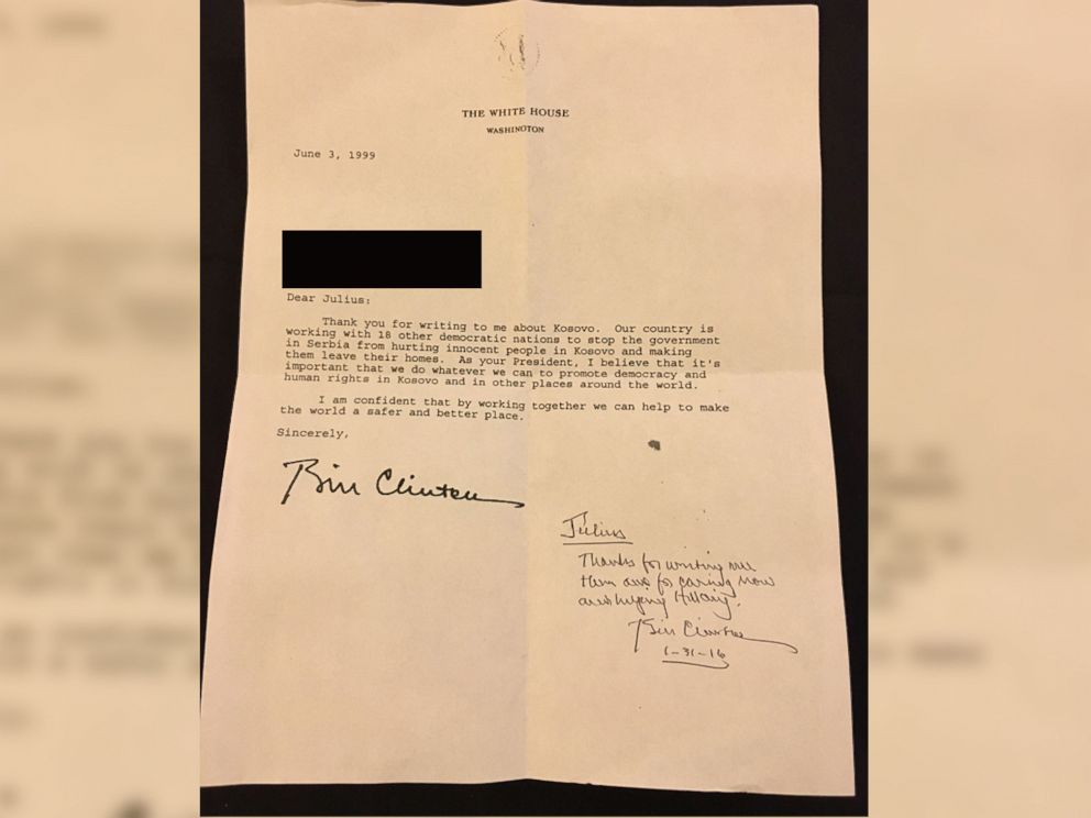 PHOTO: Bill Clinton resigns letter written 16 years ago for Hillary Clinton supporter.