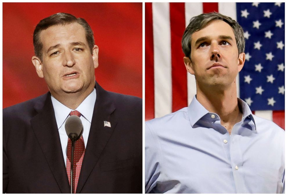 PHOTO: Senator Ted Cruz speaks at the Republican National Convention in Cleveland, July 20, 2016, and U.S. Representative Beto ORourke campaigns in Houston, Nov. 11, 2017 in this combination photo.