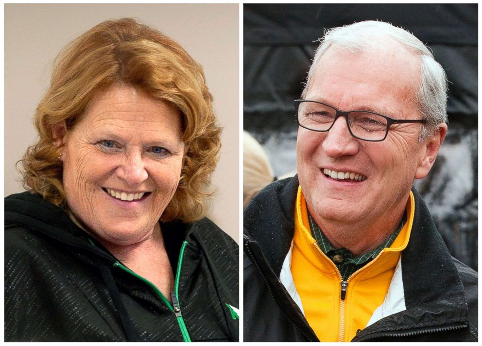 PHOTO: This combination of file photos shows North Dakota U.S. Senate candidates in the November 2018 election from left, incumbent Democratic Sen. Heidi Heitkamp and her Republican challenger Kevin Cramer.