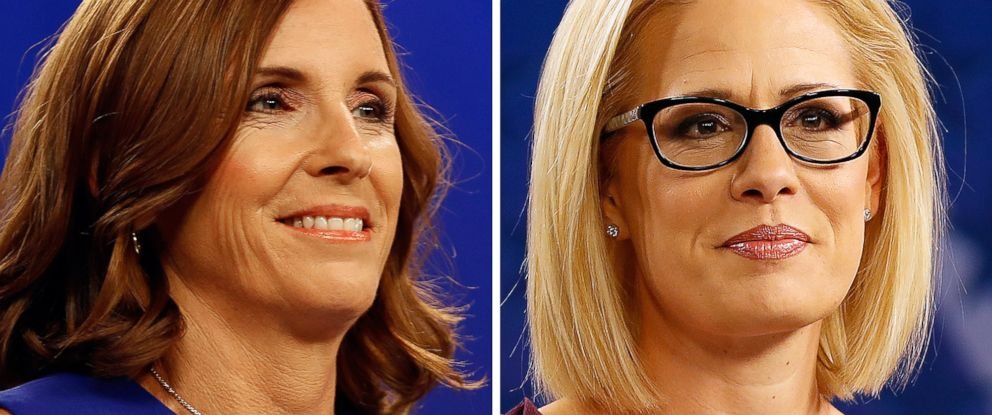 PHOTO: A combination of two images shows Republican Rep. Martha McSally and Democrat Rep. Kyrsten Sinema at a debate in Phoenix, Oct. 15, 2018. They are competing to fill the seat of retiring Senator Jeff Flake.