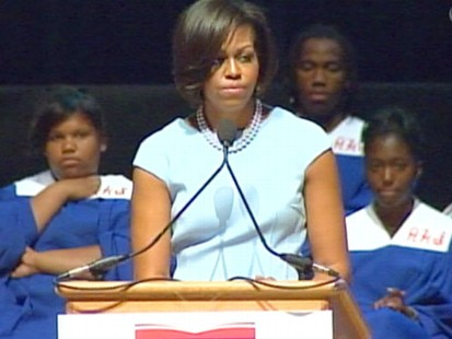 VIDEO: Michelle Obama gets teary as she speaks about her parents to graduating seniors.