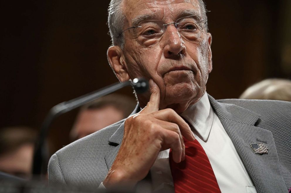 PHOTO: Committee Chairman Sen. Chuck Grassley listens during a markup hearing before the Senate Judiciary Committee on Capitol Hill in Washington, D.C., Sept. 13, 2018.