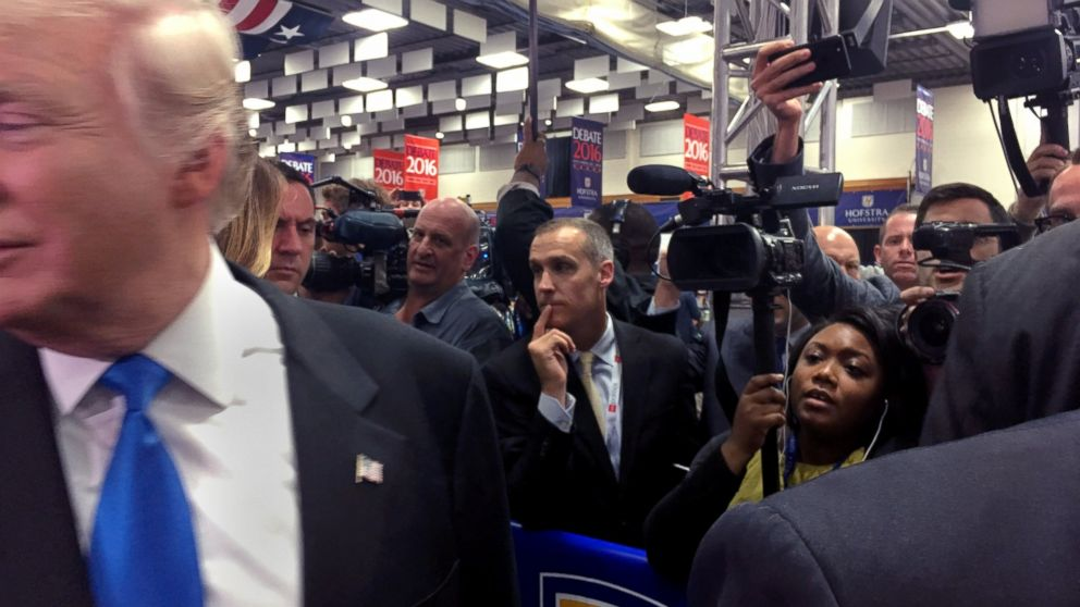 ABC News' Candace Smith films Donald Trump during the second presidential debate at Hofstra University in Long Island, N.Y., Sept. 26, 2016.
