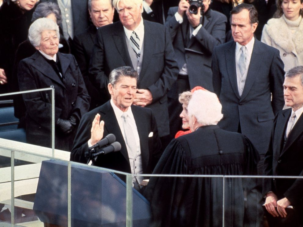 PHOTO: President Ronald Reagan is sworn in as 40th President of the United States by Chief Justice Warren Burger beside his wife Nancy Reagan during inauguration ceremony, on Jan. 20, 1981 at the Capitol in Washington, D.C.