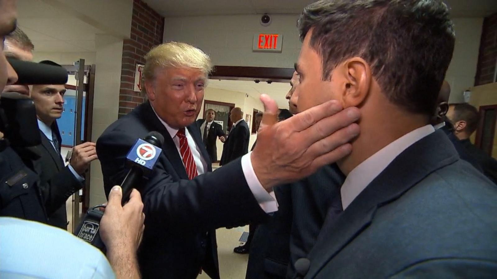donald trump offers abc news tom llamas a love tap abc news