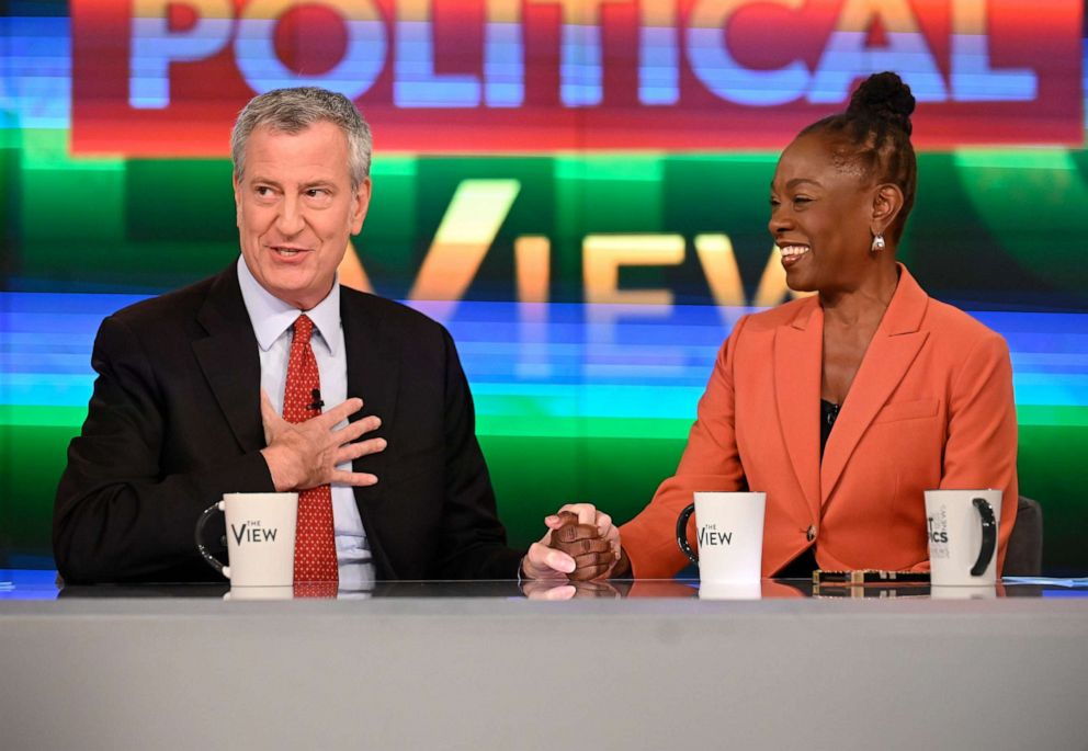 PHOTO: New York City mayor Bill de Blasio and his wife Chirlane McCray appear on The View