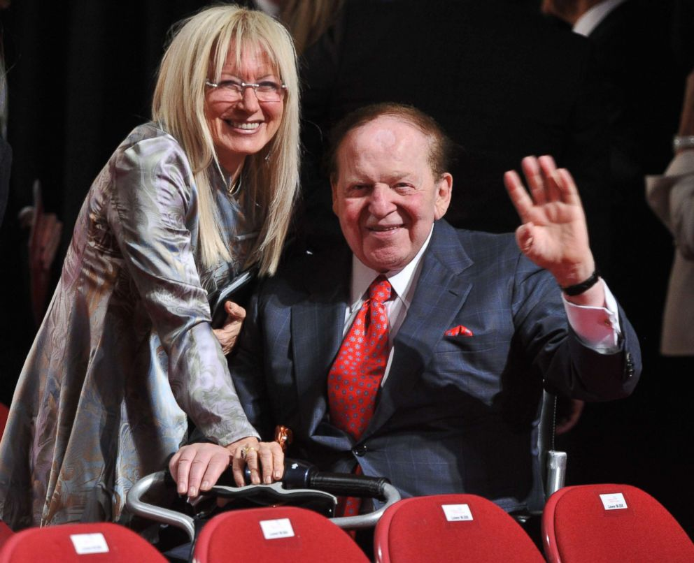 PHOTO: US business magnate Sheldon Adelson and his wife Miriam Ochsorn pose for photographers after attending the first presidential debate between US President Barack Obama and Republican challenger Mitt Romney in Denver,Colorado on October 3, 2012.