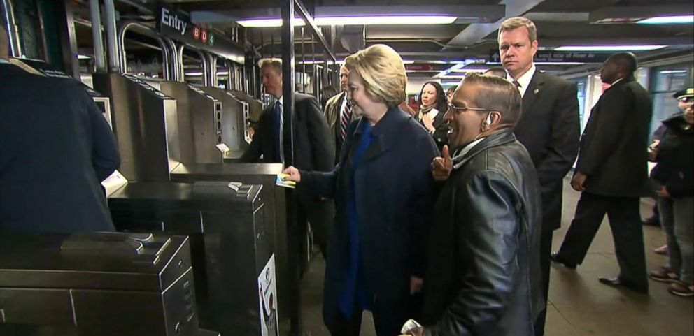 VIDEO: The Democratic presidential candidate had a bit of trouble with her MetroCard.