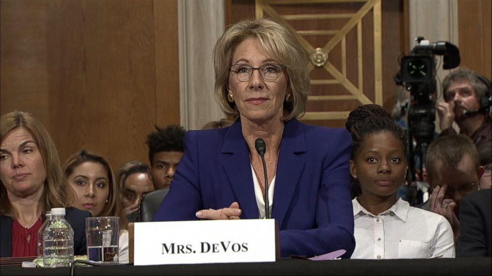 Betsy Devos Threat To Children With >> Trump S Education Secretary Pick Betsy Devos Grilled On Public