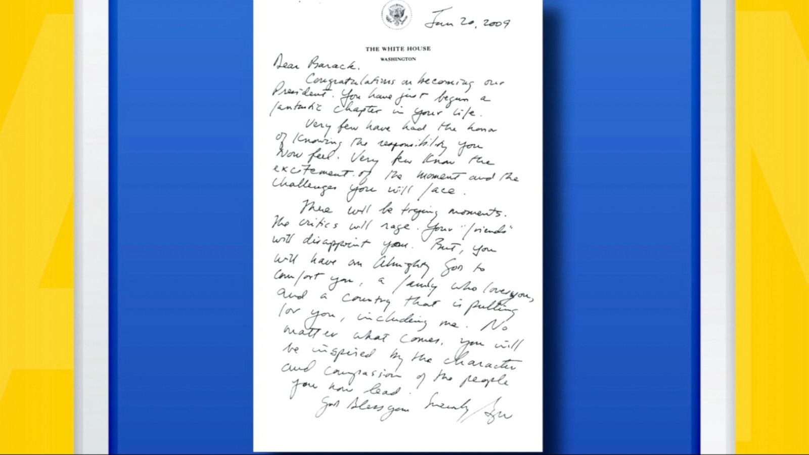 First On Abc George W Bushs Inauguration Day Letter To Barack