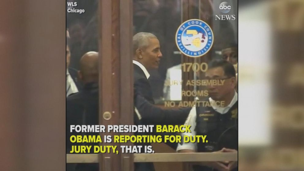 obama shows up in chicago for jury duty video abc news. Black Bedroom Furniture Sets. Home Design Ideas