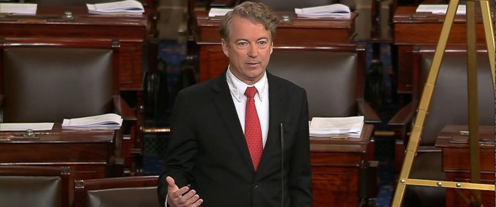 Paul spoke on the Senate floor tonight, holding up a vote on a budget deal.