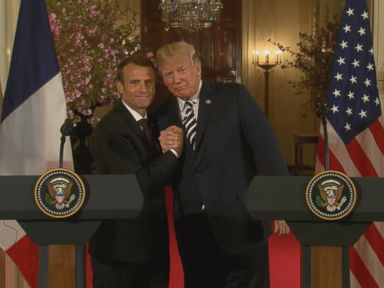WATCH:  Trump and Macron's 'bromance' continues with kisses, praise