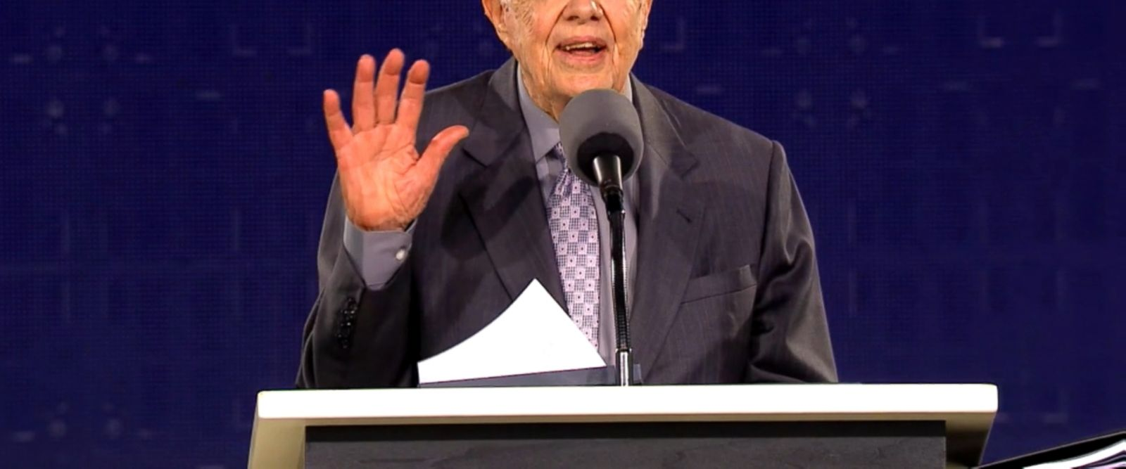 VIDEO: Former President Jimmy Carter talked big about the crowd size while delivering the keynote speech a year after President Trump did.