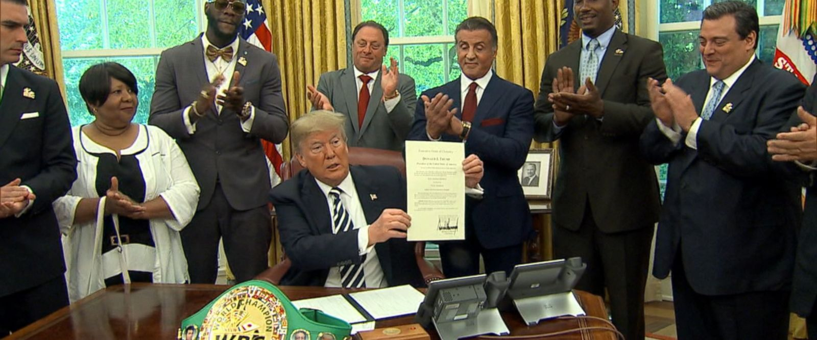 VIDEO: President Trump signed a full posthumous pardon for former heavyweight boxer Jack Johnson in a surprise Oval Office ceremony alongside actor Sylvester Stallone.