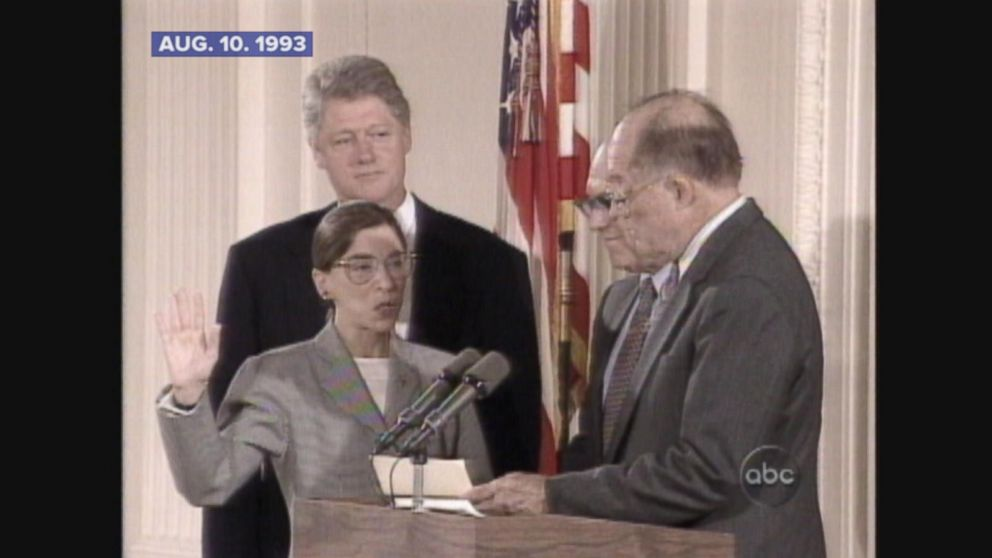Aug 10 1993 Ruth Bader Ginsburg Sworn In As Supreme Court Justice Video Abc News